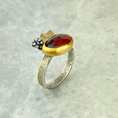 Hessonite Garnet and Gold Woodland Ring