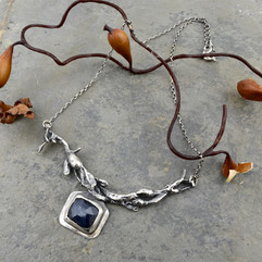 Sapphire and seaweed necklace