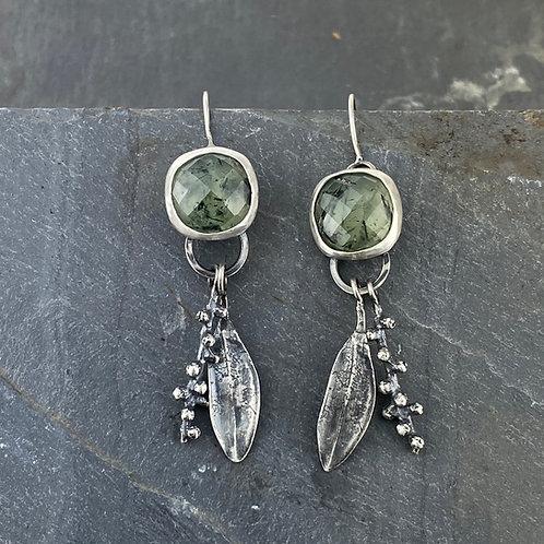 Tourmalinated Prehnite and Botanical Earrings