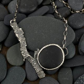 Beach Stone and Bark Necklace