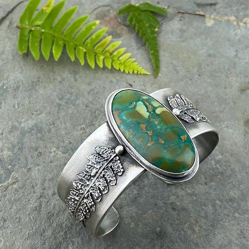 Turquoise and Kupukupu Fern Cuff