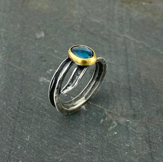 Blue Topaz Okra Gold Ring, Size 7.5