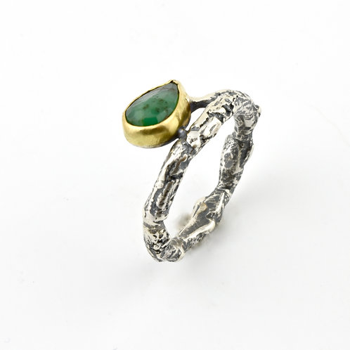 Emerald and Twig Ring