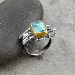 paraiba tourmaline and driftwood ring