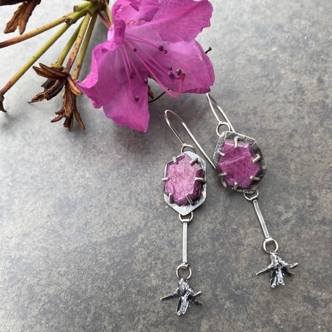 Prong set rubies and Rhododendron Pods.j