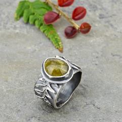 vesuvianite and lady fern ring