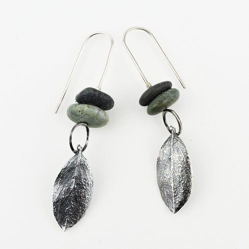 Small Leaves and Stacking Stones Earrings