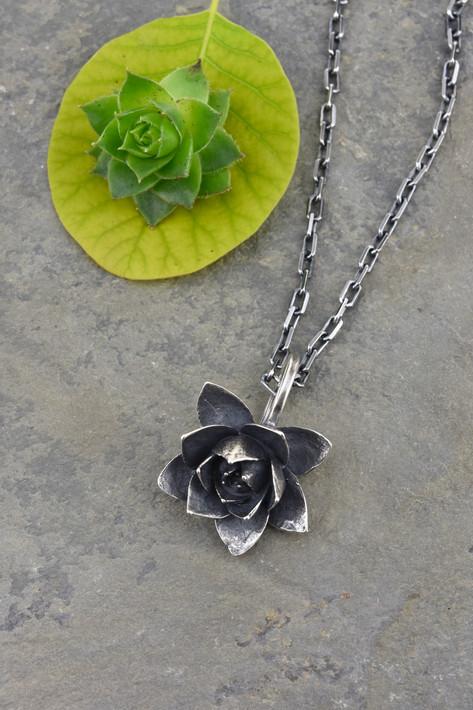 Large Cast Silver Succulent Necklace