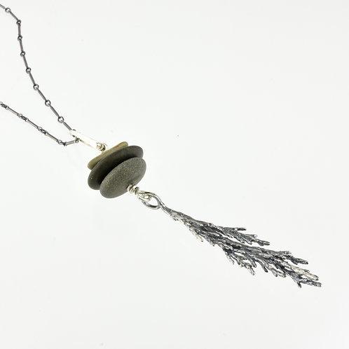 Cedar Branch and Beach Stone Necklace