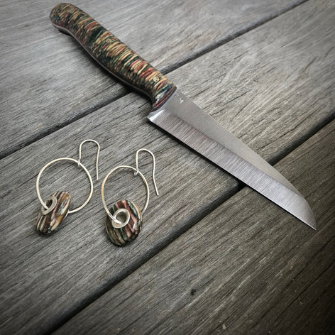 One of Kind Earring and Knife Set
