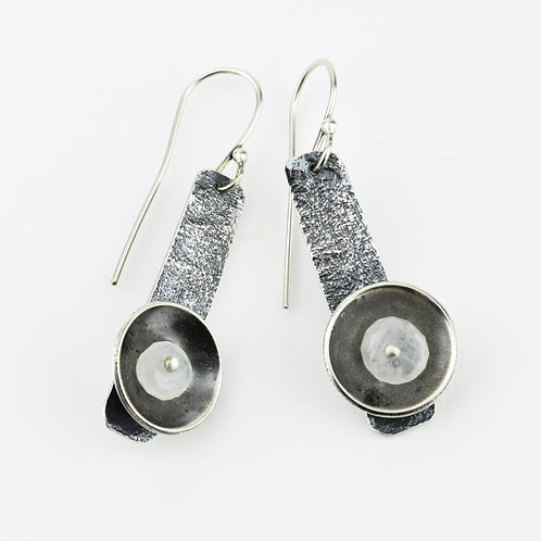 Textured Bar Earrings with Riveted Moonstones
