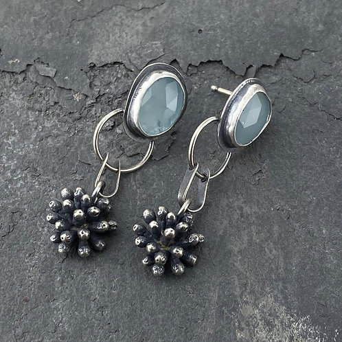 Aquaprase and Mimosa Blossom Earrings