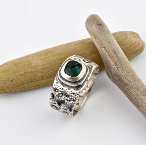 Emerald and Sea Urchin Ring