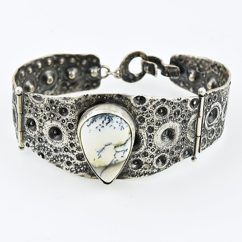 Hinged Sea Urchin Bracelet with Dendritic Opal