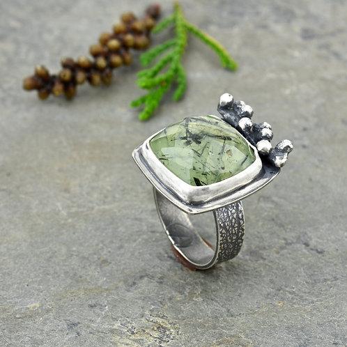 Prehnite Ring with Douglas Fir Sprig