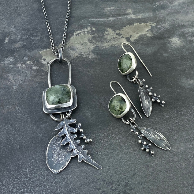 Tourmalated Prehnite Charm Set