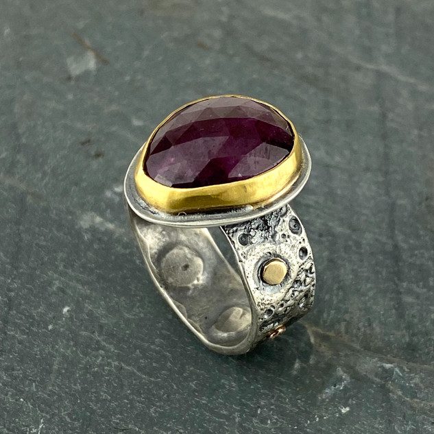 Ruby, Gold and Sea Urchin Ring, Size 9