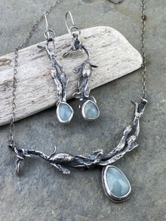 Aquamarine and Seaweed Necklace and Earrings
