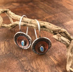 Silver and Copper with Opal Earrings