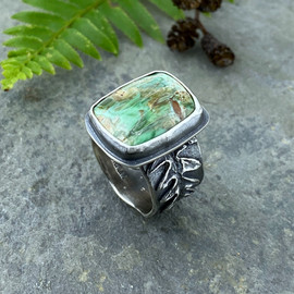 lady fern and variscite ring