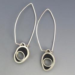 Small Black Ellipse Earrings