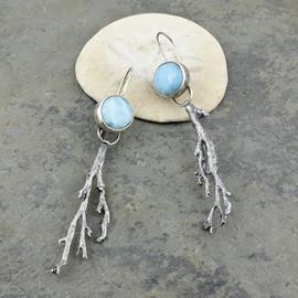 Larimar and Seaweed Earrings