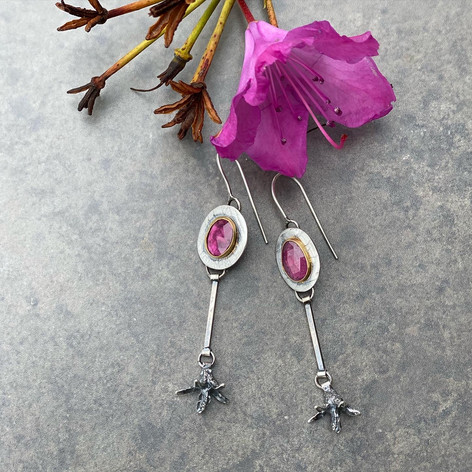 Ruby and Rhody with Gold Bezel earrings.