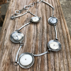 Stones from Spain and Etched Silver Necklace