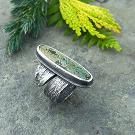turquoise and bark ring
