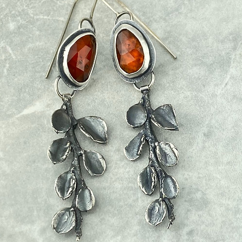 Hessonite Garnet and Cotoneaster Earrings