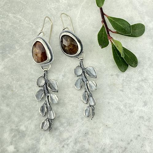 Sunset Tourmaline & Cotoneaster Earrings