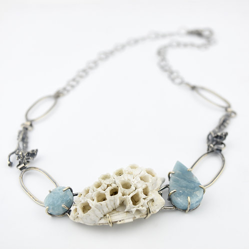 Barnacle and Rough Cut Aquamarine Necklace
