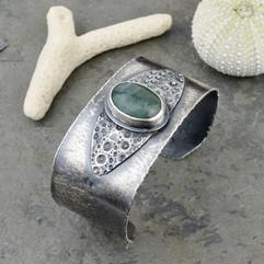 Aquamarine and Sea Urchin Cuff