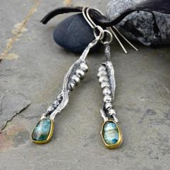 Teal Kyanite and Seaweed Earrings