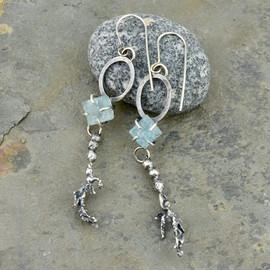 Rough Cut Aquamarine and Seaweed earrings