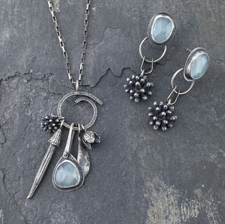 Aquaprase and Mimosa Charm Necklace and Earrings