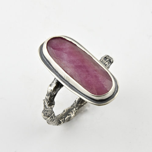 Pink Sapphire and Cast Twig Ring