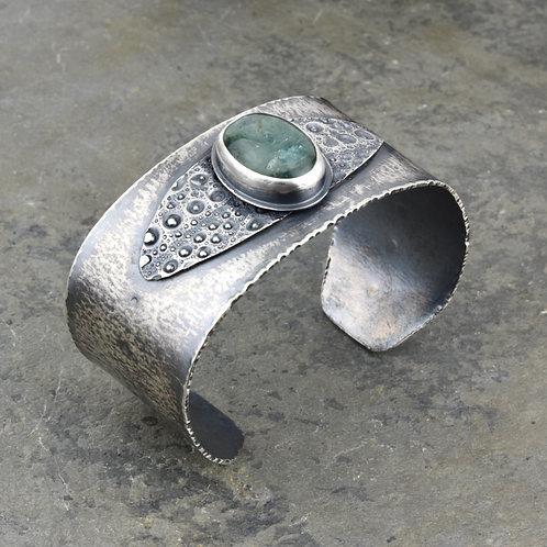 Aquamarine and Sea Urchin Cuff Bracelet