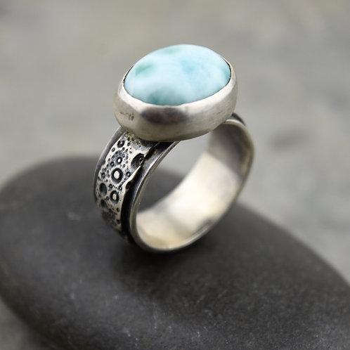 Larimar and Layered Sea Urchin Ring
