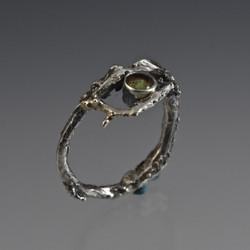 Twig and Peridot Ring