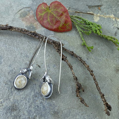 ivory sapphire and small bud earrings