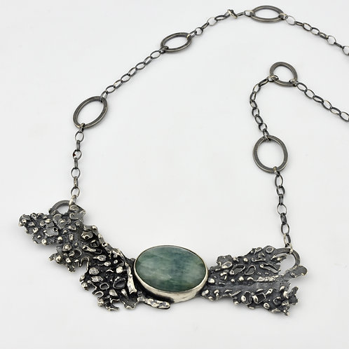 Fan Coral and Aquamarine Necklace