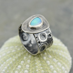 opal and sea urchin ring