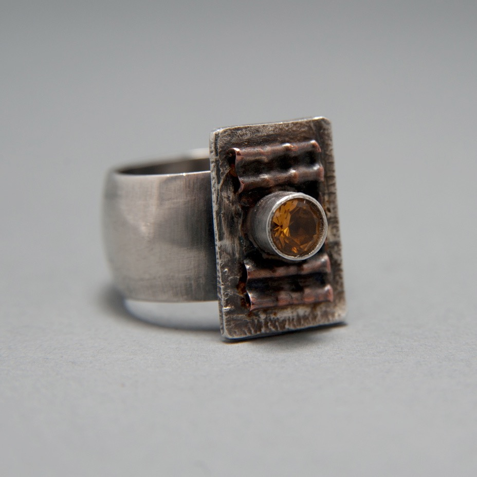 Citrine and Corrugated Copper Ring