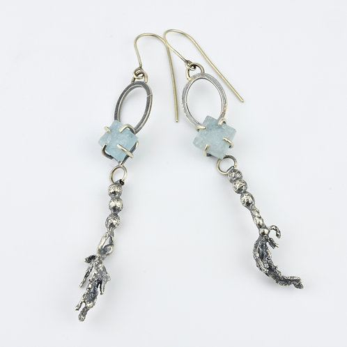 Rough Cut Aquamarine and Seaweed Earrings