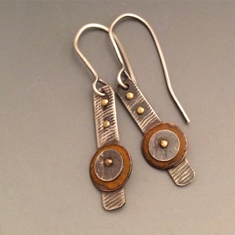 Orange Enameled Earrings