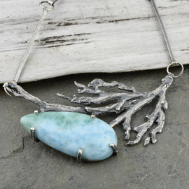Larimar and Seaweed necklace