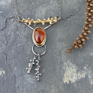 Douglas Fir Sprig and Hessonite Garnet Necklace