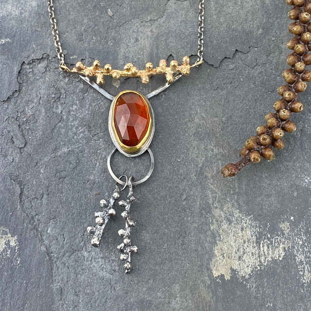 Douglas Fir Sprig and Hessonite Garnet Necklace