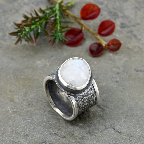 Moonstone and Sea Urchin Ring